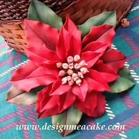 Red Poinsettia Gumpaste Poinsettia....Thanks for looking!...................Edna :)