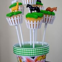 Horse Cupcake Bouquet Cupcake bouquets for a horse themed birthday party.