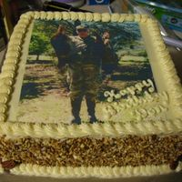 Turkey Hunter Birthday this cake is half carrot cake, and the other half is chocolate cake. It has a cream cheese frosting
