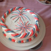 Fireworks chocolate cake w/ vanilla flavored buttercream