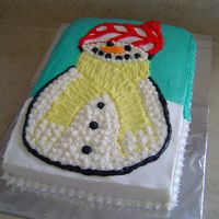 Snowman This cake was for a children's christmas party at church. I am still learning so I was pleased with how it turned out.