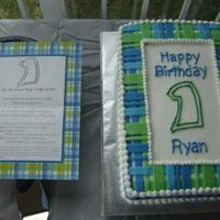 Plaid 1St Birthday Cake This was my first paid cake! I made the cake to look like the birthday boy's invitation. I was so happy with how it turned out. It...