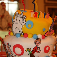 Dr. Seuss Cake I made this cake for my daughter's 3rd birthday. Fondant covered with RIT's. It took a ton of time but I love the way it came out...