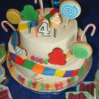 "Candy Land Cake I made this cake for DD's 4th Birthday. Vanilla/strawberry cake and Chocolate/peanut butter cake. All covered in buttercream. ""..."