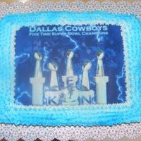 Dallas Cowboys This cake was jsut so rushed, I made it today for a game tonight, My neighbor loves the cowboys so i put his name on the image....