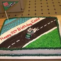 Dale Jr Cake I made the flag on the computer. All buttercream.