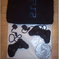 Playstation 2 Cake Covered in fondant.