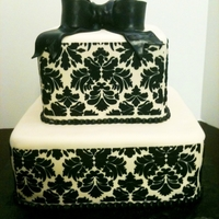 Damask Shower  Cake for a bridal shower with a Parisian theme. I would have rather put a red flower or something on it for contrast, but they wanted all...