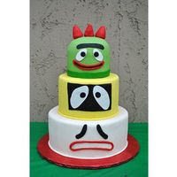 Yo Gabba Gabba  My son's 1st birthday cake. All fondant. Why does everbody always forget Gooble? This cake is not my original idea of course, there...