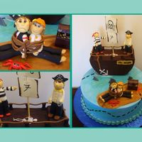 Pirate Birthday  Pirate themed birthday cake. Fondant figures. Treasure chest is plastic. Buttercream frosting. Mom and dad are tied up and birthday boy and...