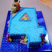 Spongebob 4 Cake Number four shaped, Spongebob themed cake.