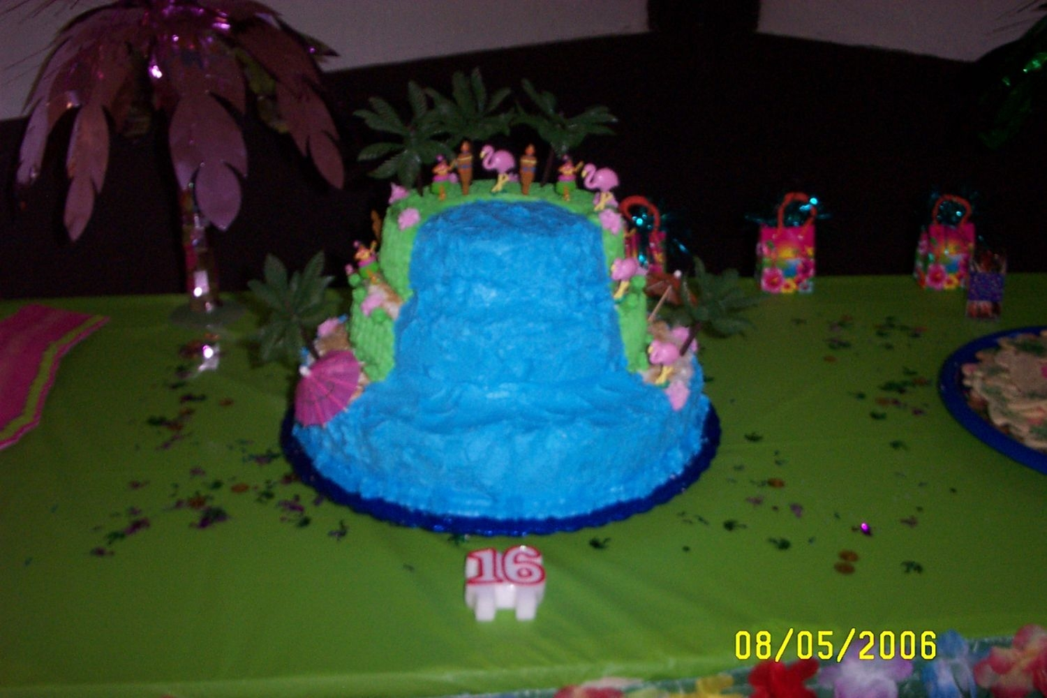 Stacked Waterfall For Luau  This is my first attempt at a stacked cake. This was for my daughter's 16th birthday party which was a luau theme. I am self taught up...