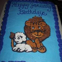 Lion And The Lamb Again, another cake for mom's co-workers. Since she teaches in a Christian school, I wanted to do a Christian cake with the lion and...