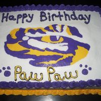 Lsu Birthday Cake I made this for my father-in-law's birthday. Eye of the tiger is a FBCT.