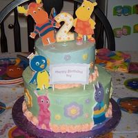 Backyardigans 2 tier cake with buttercream and fondant accents. Characters are edible image plaques. Inspired by many cakes seen here on CC!! Thanks!