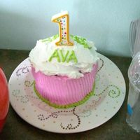 "Over-Sized Cupcake Cake This is the over-sized cupcake cake I made for my daughter's first birthday party. This was her own cake to enjoy. I used a 5""..."