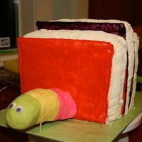 3D Bookworm Cake - Another View Here's another view of the cake during the decorating process.