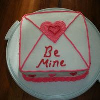 "Valentine's Day Cake   Tried making this an ""envelope"" cake. Should have done SWAK instead of Be Mine"