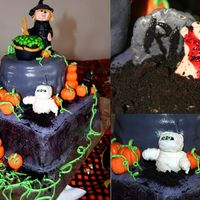 Eerie Spooky Halloween Cake  I used about four or five other cake ideas to build this one. I covered everything in MMF, but I am using a 220V microwave and for some...