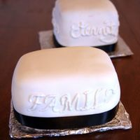 Practice Mini Square Wedding Cake  A friend asked me to do a three tiered square fontant wedding cake. I said yes, when I should have just ran away screaming. She is coming...