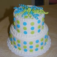 "Polka Dots & Curls 2 layer 6"" and 8"" rounds, buttercream, fondant polka dots and curls"