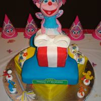 Abby Cadabby This was an Abby Cadabby cake that I did for a little girl's first birthday. Abby was made of rice krispie treats.