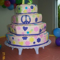 Hippie Cake   Buttercream frosting with fondant accent/