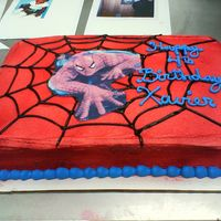 Spiderman CSM: Edible image Spiderman. Cake airbrushed red. Black gel for web.I'm really proud of this one. My husband saw the picture and said...