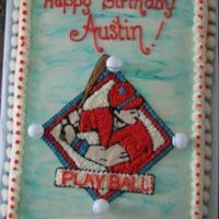 Playball! This was fro a friend's son's birthday. I used a coloring book sheet I got off the web and transferred with Piping gel.