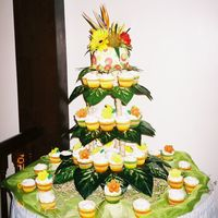 Tropical Cup Cake Tree   75 cupcakes with a 6 inch cake on top.