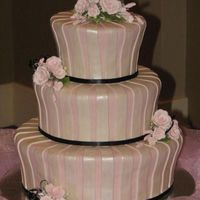 "Pink, Black & White Wedding Pink, black & white wedding cake. Used 6""&7"" for top, 9""&10"" for middle and 12""&13"" for..."