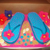 "Flip Flop Flip Flop cake for my daughters birthday. Little blue ""dots' were to hold the 8 candles."