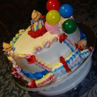 Clown Cake Clown cake decorated using BC. I liked the 3 colour effect but not the best result. The top clown collapsed.. got hit by his own clown car...
