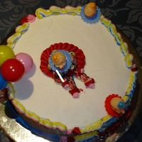 Clown Cake Top View top view of the clown, leaning to the right. BC is hard to get right when your hands a re hot!!! It was fun making the cake though.