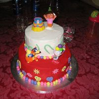 Dora Birthday Cake Daughters 2nd birthday cake. She loves Dora. Two tiered, fondant flowers and hearts with dragess. Fondant balls, bc icing on both tiers....