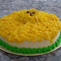 Sunflower Cake Shockingly bad first cake I made in class. Supposed to be a sunflower in BC but seriously Van Gogh need not worry. BAD BAD BAD. At least it...