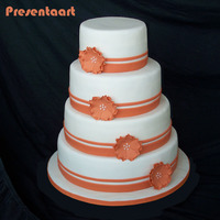 Wedding Cake With Orange Flowers   The bride wanted the orange color from their wedding invite, and a simple & stylish wedding cake