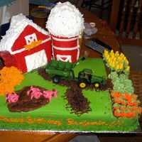 Farm Birthday Cake  THis is my 3 year old son's birthday cake. He was very specific on what it should have on it! 11x18 sheet pan, barn is house pan, hay...