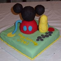 "Mickey Mouse Clubhouse Birthday Cake This cake was for my DS's 5th birthday. The base is a 10"" square WASC/funfetti with chocolate BC under the fondant. The clubhouse..."