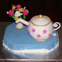 Bridal Tea Cake  This cake was for a bridal tea being held at a local tea room. The hostess saw my teacherscake and wanted the exact same cake for the...