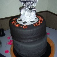 "Harley Wedding Cake This was for my former bosse's wedding. Three 12"" round tiers stacked off center - they started out more off center but the..."