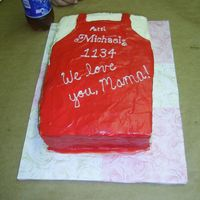 Michael's Apron For an Assistant Manager's last day at the store - a very last minute cake! Strawberry cake with cream cheese icing. In case you'...