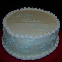 "Good Luck 9"" White on White Buttermilk cake with a white chocolate buttercream icing. For a co-worker."