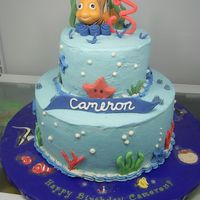 Nemo Inspiration from sandralita's nemo cake... WASC with pineapple filling on the top layer and raspberry on the bottom. Buttercream with...