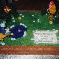 Great Outdoorsman Cake Goofy Hunting and Fishing Cake