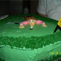 Fun Golfing It was a friends 52nd birthday. The cake was a sheet cake, golfer is gum paste. Thank you for looking.