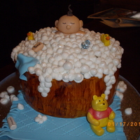 Winne The Pooh And A Bubble Bath Thank you for looking at my cake. It was for a friends baby shower she had to put on. I love making this cake.