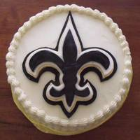 Who Dat? My son LOVES the Saints - so what else would he have for a birthday cake?? Red Velvet cake, cream cheese buttercream, and the fleur de lis...