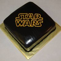 "Star Wars My niece wanted a black cake with the ""old school"" Star Wars logo on it. (LOVE those easy cakes...) Spice cake with cream cheese..."