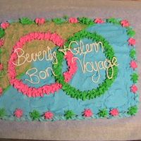 Bon Voyage This was a cake I made for my parents. They were going on a cruise so I made this right before they left. It is white cake with BC icing...